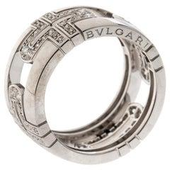 Bvlgari Parentesi Diamond 18K White Gold Band Ring Size 54