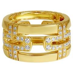 Bvlgari 'Parentesi' Diamond and Yellow Gold Wide Band Ring