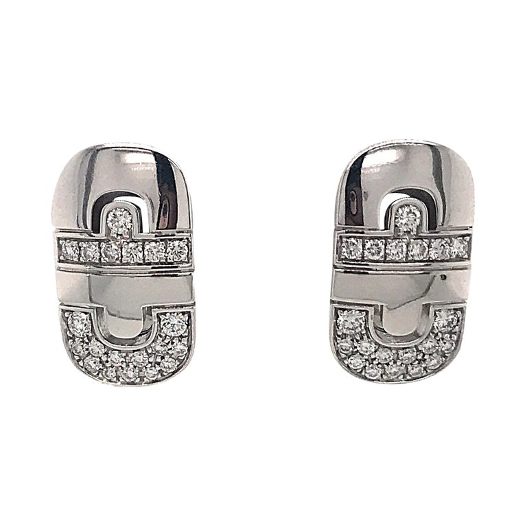 Bvlgari Parentesi Diamond Earrings 0.75 Carat 18 Karat White Gold For Sale