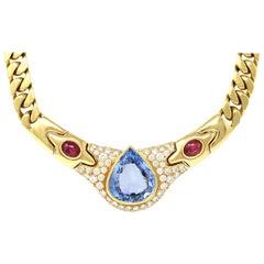 Bvlgari Pear-Shaped Ceylon Sapphire, Ruby and Diamond Necklace in 18 Karat Gold