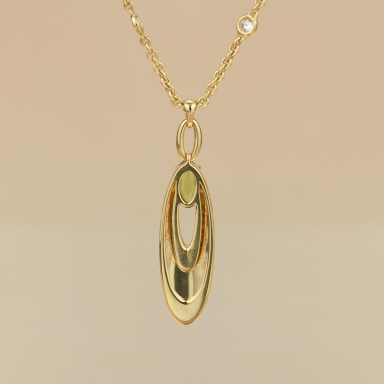Women's or Men's Bvlgari Peridot Diamond 18K Gold Pendant Necklace For Sale