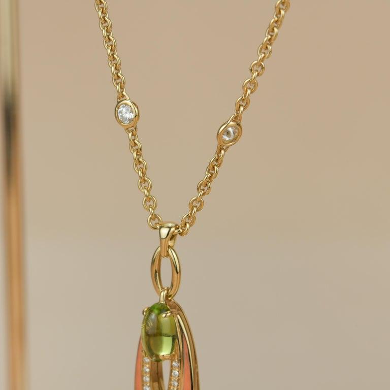 Bvlgari Peridot Diamond 18K Gold Pendant Necklace For Sale 2