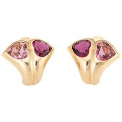 Bvlgari Pink Tourmaline Heart Earrings 18 Karat Gold Designer Bvlgari Vintage