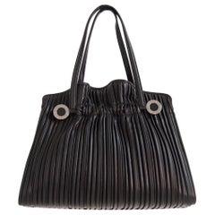 Bvlgari Plissè Black Leather Hand Bag 2000s