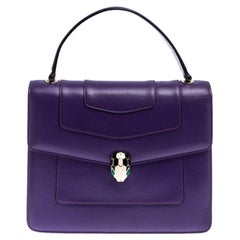Bvlgari Purple Leather Serpenti Forever Flap Bag