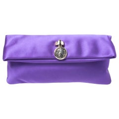 Bvlgari Purple Satin Flap Clutch