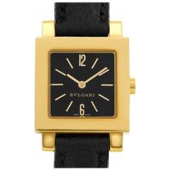 Bvlgari Quadrato SQ22GL 18 Karat Black Dial Quartz Watch