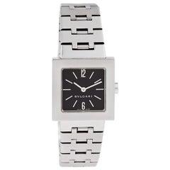 Bvlgari Quadrato sq22ss Stainless Steel Black Dial Quartz Watch