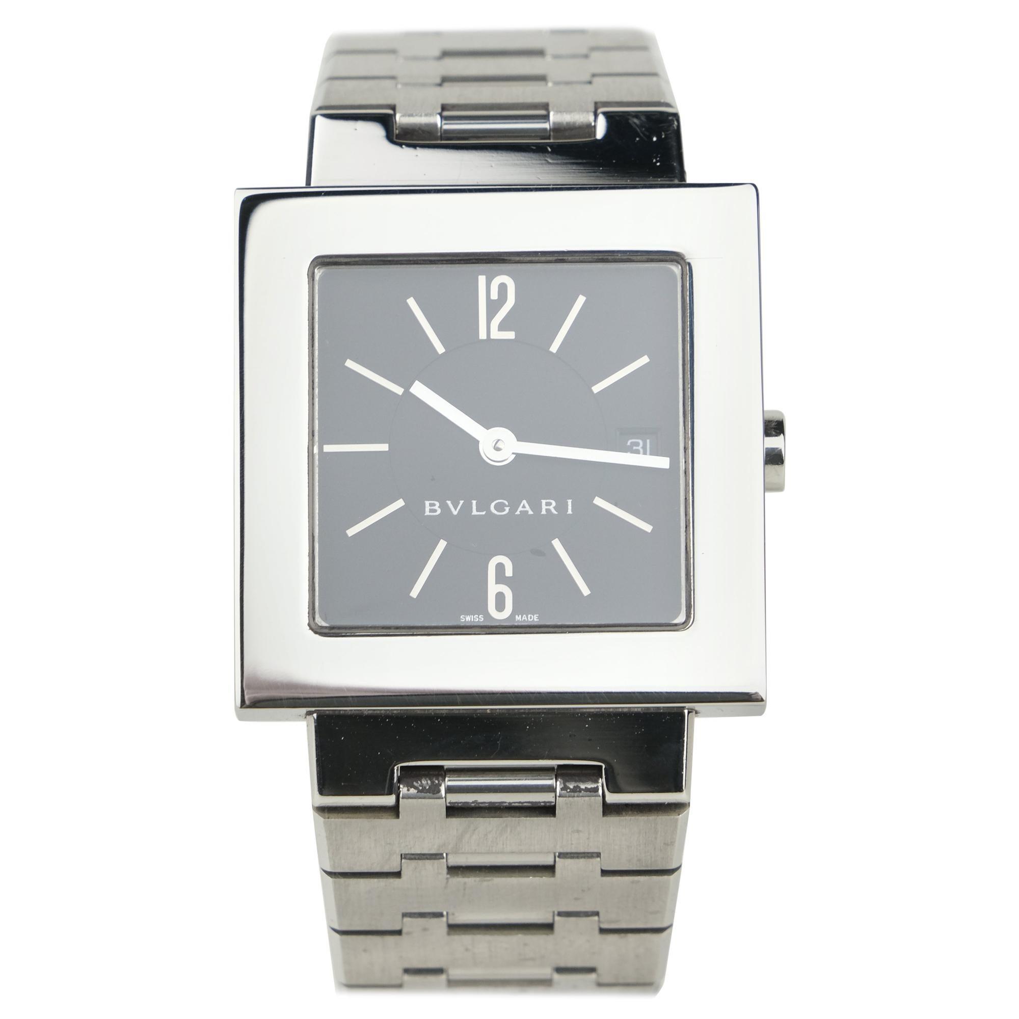 "Bvlgari ""Quadtrato"" Stainless Steel Quartz Wristwatch"