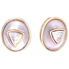 Bulgari Quartz and Trillion Diamond Earrings