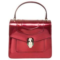 Bvlgari Red Metallic Leather Serpenti Forever Flap Top Handle Bag
