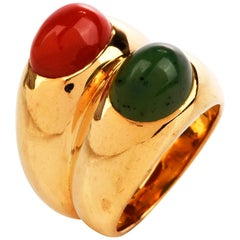 Bvlgari Retro Natural Coral Jade 18 Karat Gold Bulgari Cocktail Ring