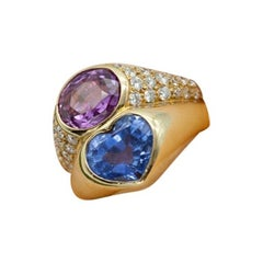 Bvlgari Ring in Gold with Diamonds, Pink and Blue Sapphires