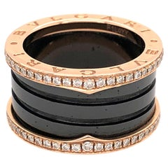 Bvlgari Rose Gold Black Ceramic Pavé Diamond Ring