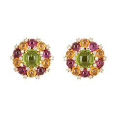 Bulgari Rose Gold Diamond and Multi-Gemstone Earrings