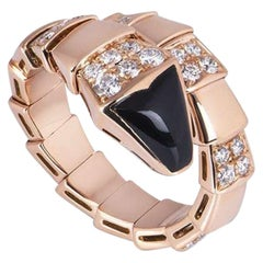 Bvlgari Rose Gold Diamond and Onyx Serpenti Ring