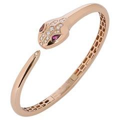 Bvlgari Rose Gold Diamond & Rubellite Serpenti Bracelet