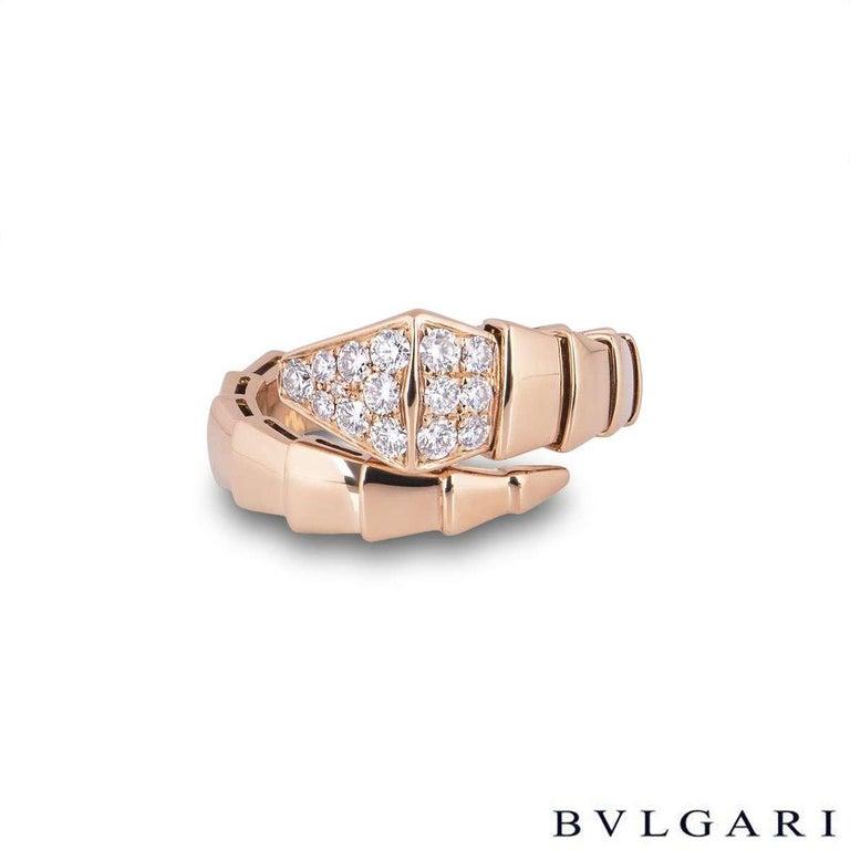 Round Cut Bvlgari Rose Gold Diamond Serpenti Ring For Sale