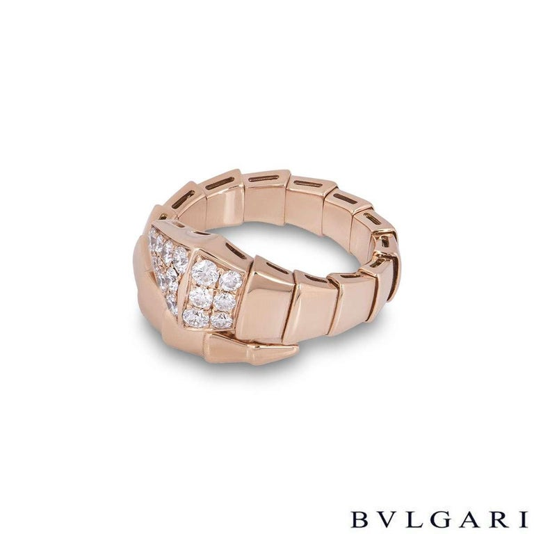 Bvlgari Rose Gold Diamond Serpenti Ring In Excellent Condition For Sale In London, GB