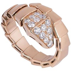 Bvlgari Rose Gold Diamond Serpenti Ring