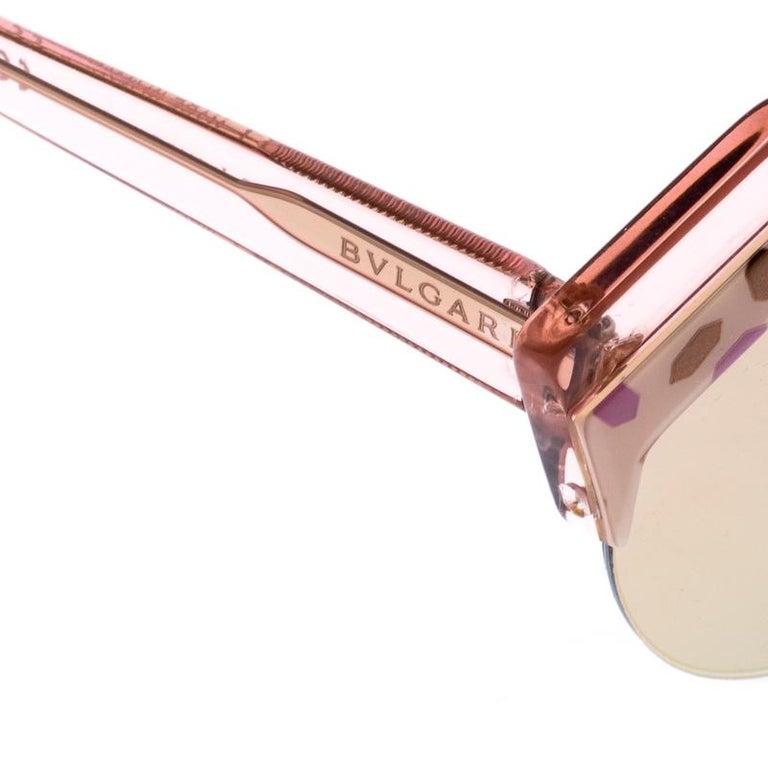 Bvlgari Rose Gold MIrrored/Pink 8203 Serpenteyes Round Sunglasses In New Condition For Sale In Dubai, Al Qouz 2