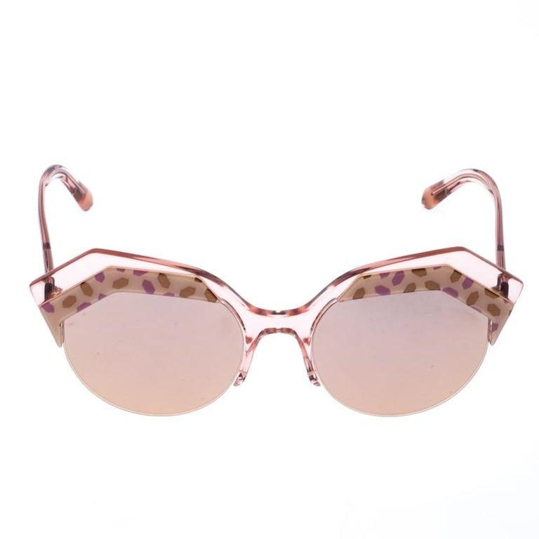 Women's Bvlgari Rose Gold MIrrored/Pink 8203 Serpenteyes Round Sunglasses For Sale