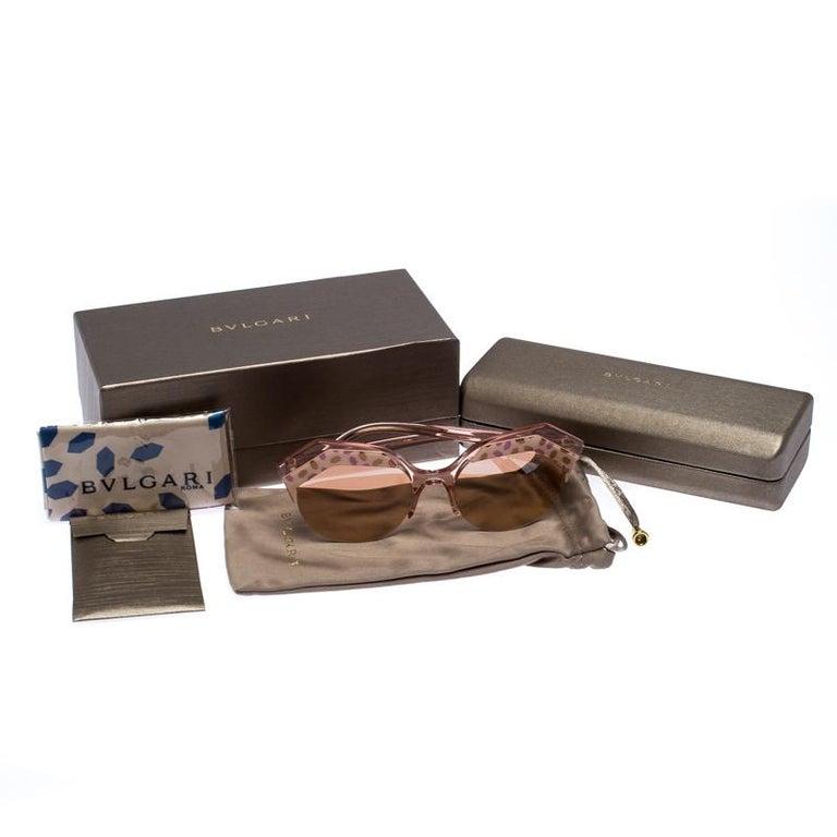 Bvlgari Rose Gold MIrrored/Pink 8203 Serpenteyes Round Sunglasses For Sale 3