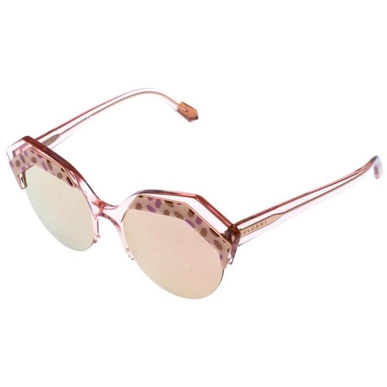 Bvlgari Rose Gold MIrrored/Pink 8203 Serpenteyes Round Sunglasses For Sale