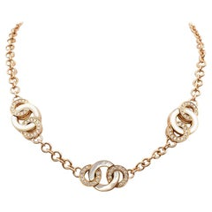 Bvlgari Rose Gold Mother of Pearl and Diamond Link Necklace
