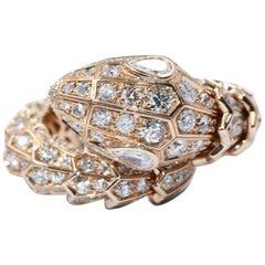 Bvlgari Rose Gold Serpenti 18 Carat Diamond Ring