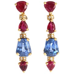 Bvlgari Ruby Ceylon Sapphire Diamond 18 Karat Gold Earrings