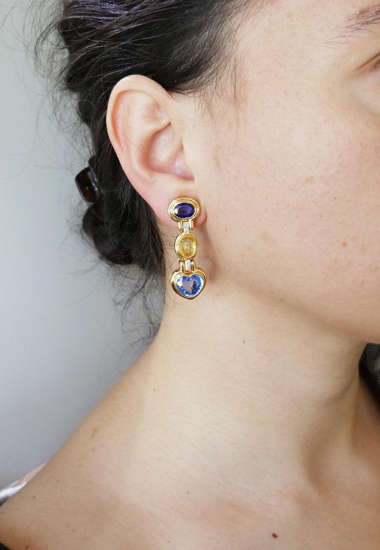 Bvlgari Sapphire Diamond Gold Earrings For Sale 6