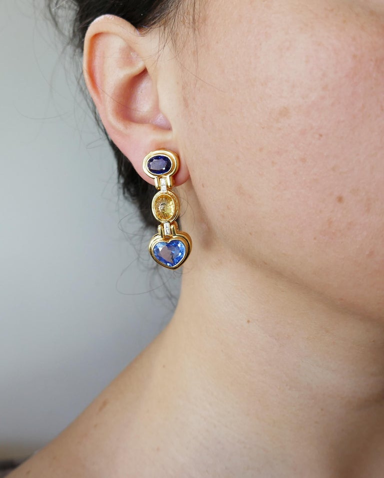 Stunning heart motif earrings created by Bulgari in Italy in the 1980's. Bold, timeless and wearable,  the earrings are a great addition to your jewelry collection.  The earrings are made of 18 karat (stamped) yellow gold and feature two heart-shape