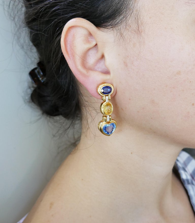 Bvlgari Sapphire Diamond Gold Earrings In Excellent Condition For Sale In Beverly Hills, CA