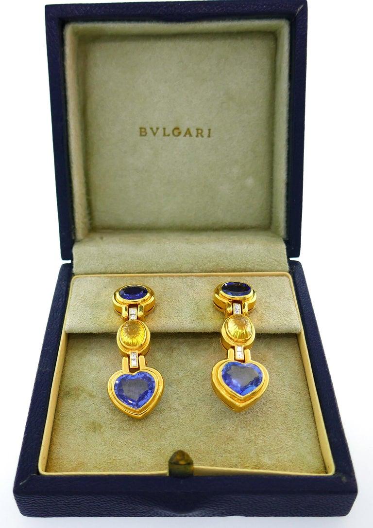 Women's Bvlgari Sapphire Diamond Gold Earrings For Sale