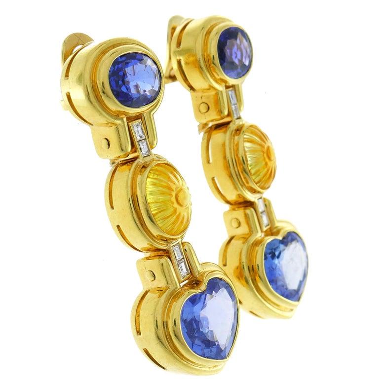 Bvlgari Sapphire Diamond Gold Earrings For Sale 1