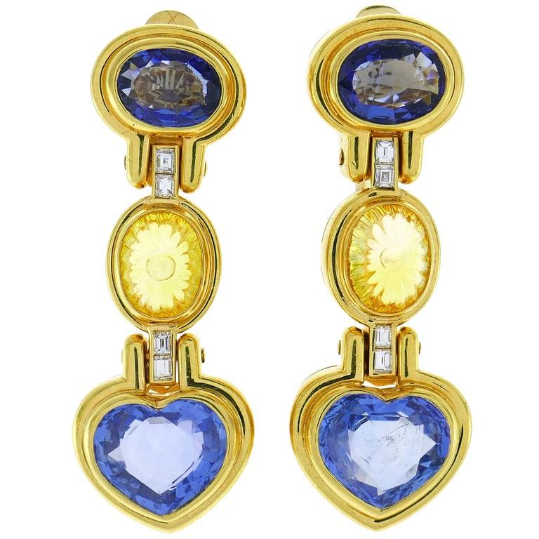 Bvlgari Sapphire Diamond Gold Earrings For Sale