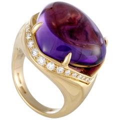 Bvlgari Sassi Diamond and Amethyst Yellow Gold Ring