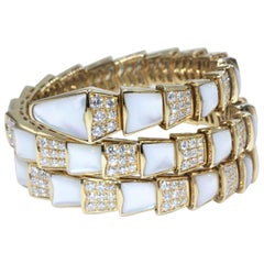 Bvlgari Sepremti Yellow Gold and Mother-of-Pearl Bracelet with Diamonds