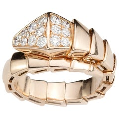 Bvlgari Serpenti 18 Karat Pink Gold Ring with Diamonds, Italy