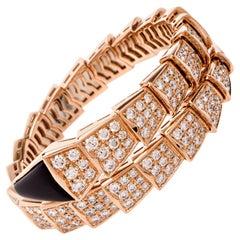 Bvlgari Serpenti 18 Karat Rose Gold Full Diamond Onyx Bulgari Snake Bracelet