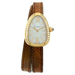 Bvlgari Serpenti 18 Karat Rose Gold MOP Dial Diamond Quartz Ladies Watch 102727