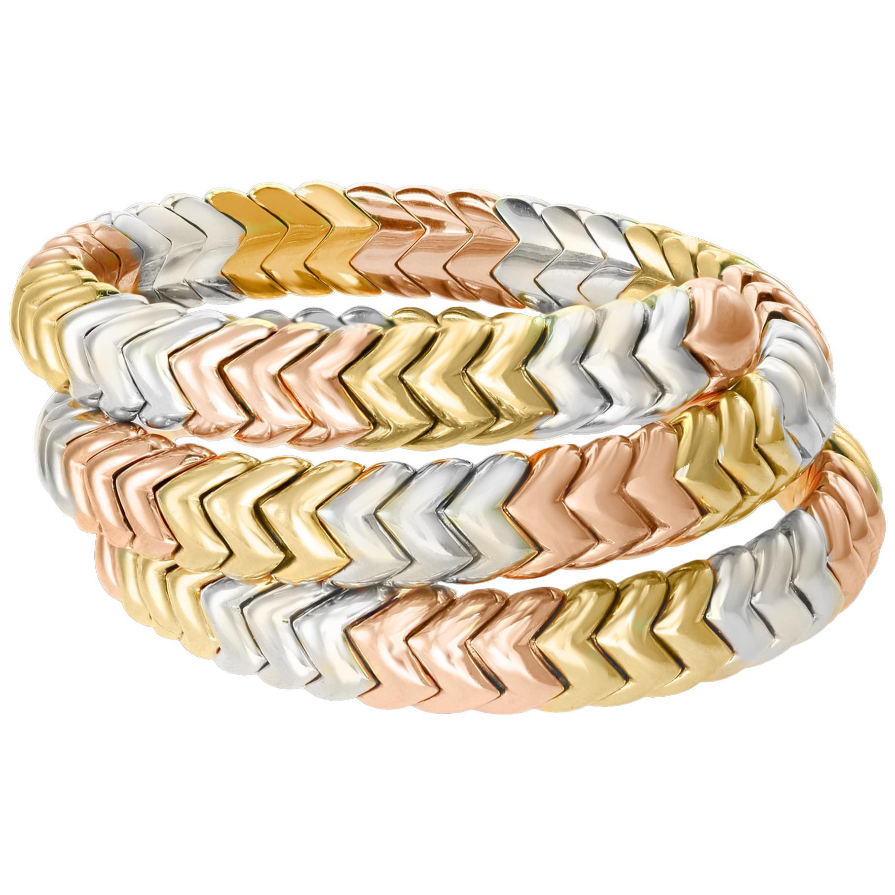 Bvlgari Serpenti 18 Karat Tri-Color Gold 92 Grams Bangle / Bracelet Designer