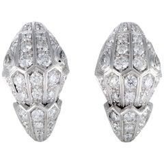 Bvlgari Serpenti 18 Karat White Gold Full Diamond Pave Huggie Clip-On Earrings