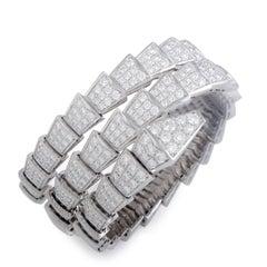 Bvlgari Serpenti 18 Karat White Gold Full Diamond Pave Medium Bangle Bracelet