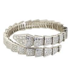 Bvlgari Serpenti 18 Karat White Gold Full Diamond Pave Medium Bracelet