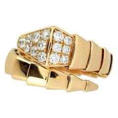 Bvlgari Serpenti 18 Karat Yellow Gold Ring with Diamonds, Italy