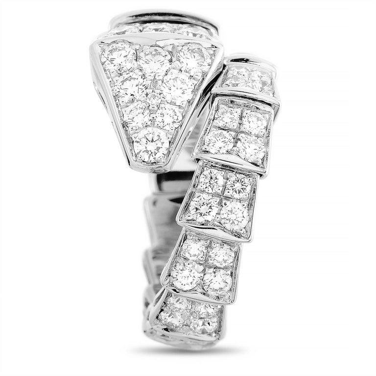 Round Cut Bvlgari Serpenti 18k White Gold Diamond Ring