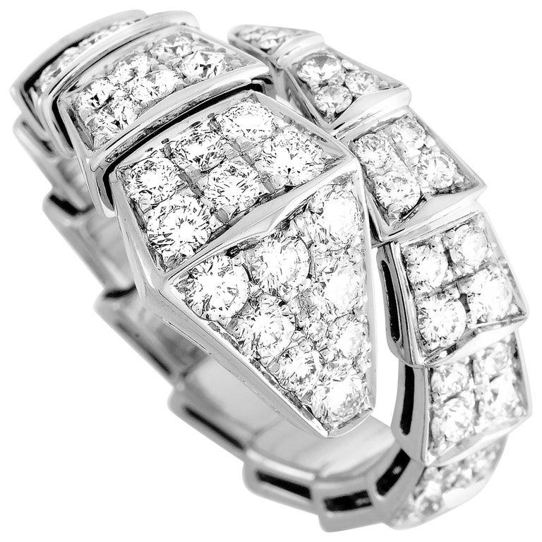 Bvlgari Serpenti 18k White Gold Diamond Ring