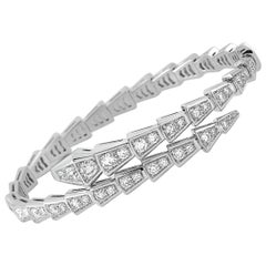 Bvlgari Serpenti 18K White Gold Full Diamond Pave Bangle Bracelet Size Medium